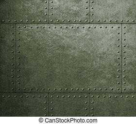 metaal, harnas, militair, groene achtergrond, met, klinknagelen