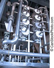 metaal, industriebedrijven, achtergrond, met, pijpen