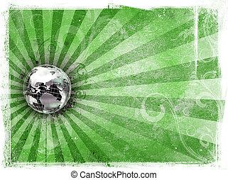 metaal kloot, grunge, achtergrond, wereld