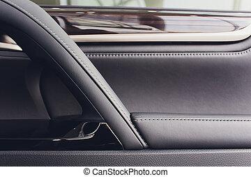metaal, moderne, zetel, versiering, auto., omringend, hi-end, blauwe , sprekers, hout, interieur, witte , deur, cockpit, spiegel., prestige, geluid, klimaat, auto, light., binnenkant., controle, geheugen, hefboom, bovenkant