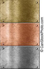 metaal, platen, set, incluis, brons, (copper), goud, (brass), en, aluminium
