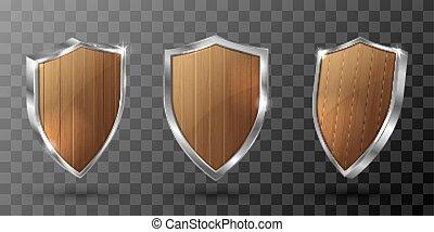 metaal, schild, frame, houten, realistisch, wedstrijdbeker