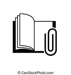 metaal, schoolboek, klem, pictogram