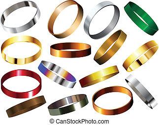 metaal, set, ringen, polsbandje, armbanden