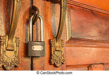 metaal, slot, om te, ?????? p??ta, voor, veiligheid, bescherming