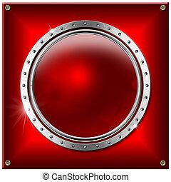 metaal, spandoek, ronde, achtergrond, rood