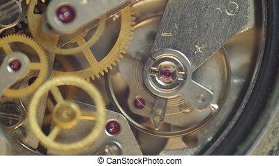 metaal, tandwielen, binnen, clockwork