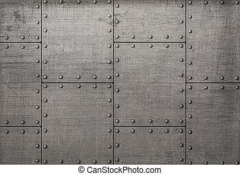 metaal, textuur, klinknagelen, donkere achtergrond, platen, of
