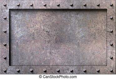 metaal, textuur, met, klinknagelen, achtergrond