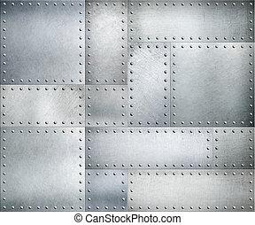 metaal, textuur, of, achtergrond, platen, klinknagelen