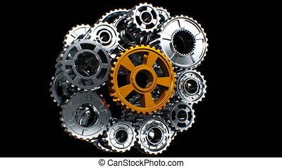 metaal, toestellen, mechanisme, staand, inactief, tot,...