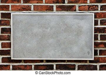 metaal voorteken, op, baksteen muur