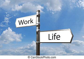 metaal, wegwijzer, werken, leven, evenwicht, met, tegenoverstaand, richtingen