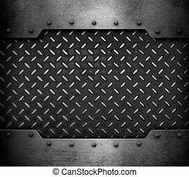 metaalplaat, achtergrond, met, klinknagelen, 3d, illustratie