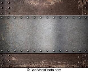 metaalplaat, met, klinknagelen, op, rustiek, staal,...