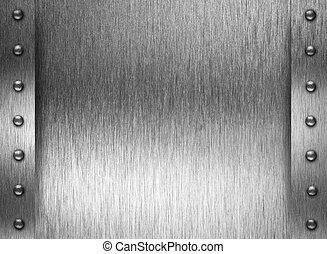 metaalplaat, of, harnas, textuur, met, klinknagelen