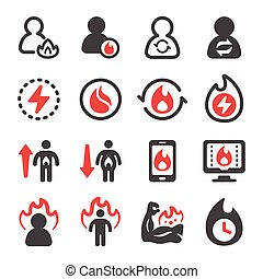 metabolism and burn icon set, vector and illustration