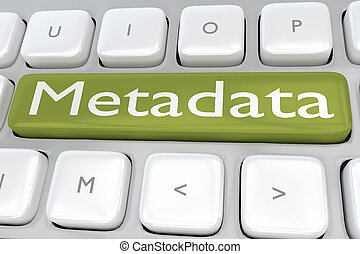 Metadata - information concept - 3D illustration of computer...