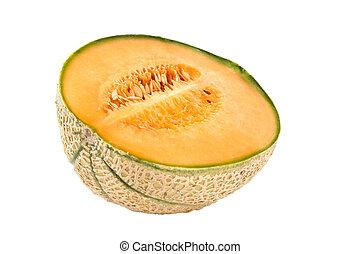 metade, de, melão, isolado