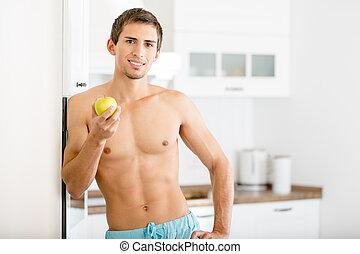 metade-despido, maçã, homem