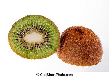 metade, fruta, de, verde, kiwi, isolado, branco, fundo