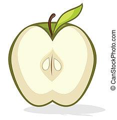 metade, maçã verde
