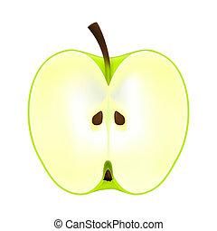 metade, maçã