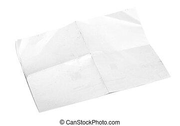 metade, papel, dobrado, isolado, a4