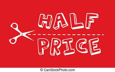 metade, preço