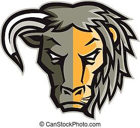 metade, touro, leão, mascote, cabeça
