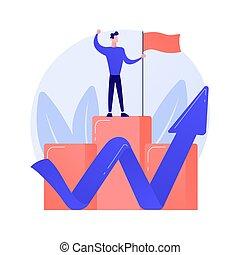 metafoor, concept, carrière, vector, klimmen
