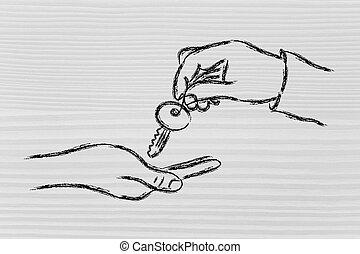 metafoor, vasthouden, succes, potentieel, ontsluiten, klee, handen, jouw