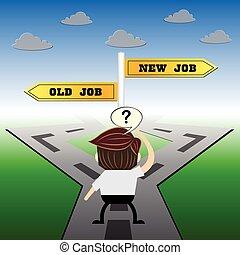 metafora, humor, pojęcie, , wybór, praca, vs, projektować, nowy, znak, stary, droga