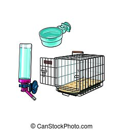 Metail wire pet travel carrier, feeding bowl and refillable drinker