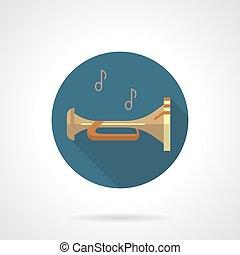 metais arejam, instruments., corneta, redondo, vetorial, ícone