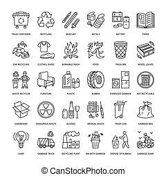 metal., 現代, プラスチック, -, ごみ, 無駄, アイコン, recycling., ベクトル, pictogram, 線, ペーパー, 分類, 管理, editable, collection., 再生利用できる, 線である, パンフレット, ストローク, ガラス