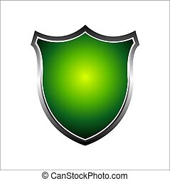 Metal 3d green shield. Vector illustration isolated on white background