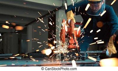 metal., acier, découpage, professionnel, mécanicien