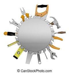 metal, aislado, señal, copy-space, blanco, herramientas,...