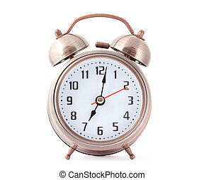 Metal alarm clock with red second hand.