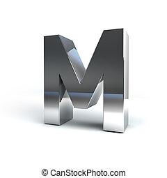 Metal Alphabet Character M - 3D Illustration of Metal...
