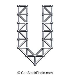 Metal alphabet letter V