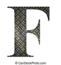 Metal alphabet symbol - F