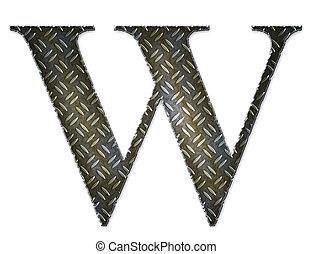 Metal alphabet symbol - W