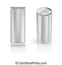 metal aluminum beverage drink can in two positions on white