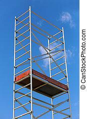 step-ladder against the sky - metal aluminum step-ladder...
