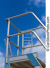 aluminum step-ladder against the sky