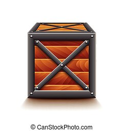wooden box clipart. metal and wooden box isolated on white vector clipart
