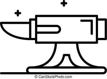 Metal anvil icon, outline style - Metal anvil icon. Outline...