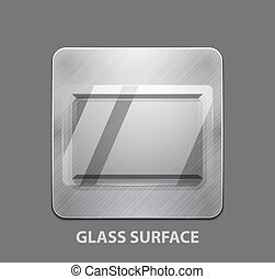 Metal app button with glass surface